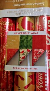 3 Roll Reversible Variety Pack Holiday Christmas Wrapping Gift Red 60 sf
