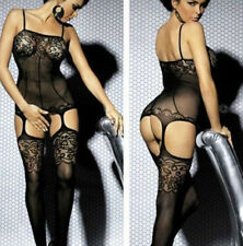 Women Black Lace Open Crotch Bodystocking Stripper Wear Body Sexy Lingerie