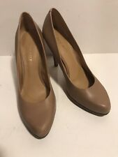 Nine West Tan Pumps with 4 Inch Stacked Heel Size 7M