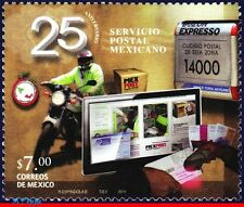 2747 MEXICO 2011 - 25th ANNIV. POSTAL SERVICE, MOTORCYCLE, COMPUTER, POST, MNH