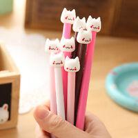2Pcs Cute Kawaii Fun Black Gel Ink Roller Ball Point Pen Cat Korean Color Random