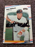 1988 Fleer Matt Williams San Francisco Giants Autographed Baseball Card