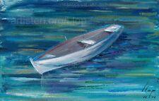 Artisteri / Llop - Barca  - mini acrílico original enmarcado 24x17