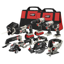 PORTER CABLE 8 Pc Cordless Power Tool Set Drill Saw Grinder Soft Case Combo Kit