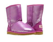 UGG CLASSIC SHORT BOOTS GIRLS KIDS YOUTH GLITTER SPARKLE PURPLE SIZE 6 NEW