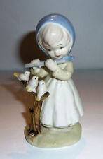 Ceramic Figurine 1980s Scarf Girl w. FLUTE & BIRDS ON BRANCH Very CUTE!