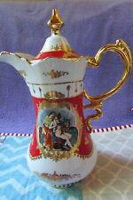 """Vintage """"L F Fine Porcelain Limoges Prc"""" Pitcher gold-toned accents & handle"""