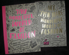 NEW! Set of 2 Draw Create Dream Fun Activity Books MY WONDERFUL WORLD OF FASHION