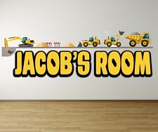 CONSTRUCTION DIGGER personalised WALL ART DECAL sticker transfer MURAL ANY NAME