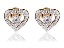 Pave 0.79 Cts Natural Diamonds Heart Stud Earrings In Fine Hallmark 14Karat Gold