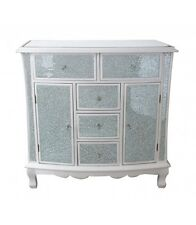 Pure White Crackle Mosaic Mirrored Sideboard Drawers and Doors Venetian