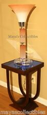 Mid Century Modern Torchier Glass Lucite Table Lamp Hollywood Regency Coral 31""
