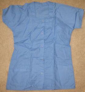 "New Medical Lab Buttoned Medium Shirt - 27"" L. - Light Blue - 2 Pockets 5 Button"