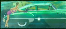 "Americana Green Car 24"" x 10"" Canvas on Wooden Frame Reduced To Clear Car Wash"