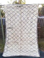 Vintage RUG  authentic Beni Ourain knotted carpet 100% Handmade 6 ft x9.9 ft