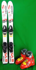 Head BYS Youth 107 cm Skis with 19.5 or 20.5 Ski Boots - Yellow - USED