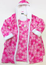 em & alfie Juniors Pink Kisses Hooded Fleece Bathrobe Size Onesize