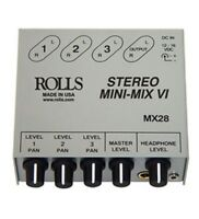 Rolls MX28 3-Channel True Stereo Line Mixer Black in color