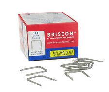 """Box 100 Briscon SN 300 B SS 302 Stainless Steel Cable Staples 13/16""""WX1-3/8 """"L"""