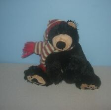 "9"" Animal Adventure Paw Pad Black Teddy Bear Plush w/ Chrsitmas Santa Hat"