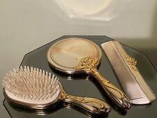 Vintage Chrome & Brass Vanity Set- Brush Mirror Comb - Ribbons & Bows