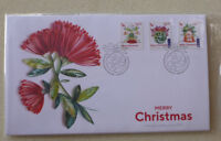 2017 NEW ZEALAND MERRY CHRISTMAS SET OF 3 PEEL & STICK STAMPS FIRST DAY COVER