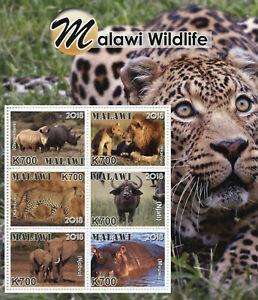 Malawi 2018 MNH Wildlife Rhinos Lions Elephants Hippos 6v M/S Animals Stamps