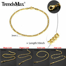 "3MM 10"" Gold Plated Stainless Steel Link Anklet Bracelet Foot Chain Women's Gift"