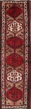 Vintage Heriz Geometric 13ft Runner Rug 4'x13' Wool Hand-Knotted Oriental Carpet