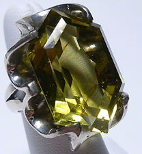 MADE IN MEXICO VINTAGE X LARGE STERLING SILVER CANARY YELLOW QUARTZ CRYSTAL RING