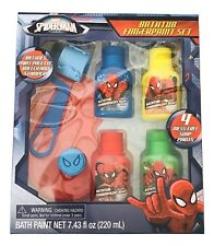 1X Spider Man 7 Piece Bath Fingerpaint Blue-Yellow-Red-Green Play Set Blu Roller
