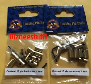 Disney lot of 2 pack of brass locking trading pin backs with key 20 pieces