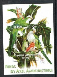 2005   CONGO  - SG: N/A -  GREEN PARAKEETS -  BIRDS - UNMOUNTED MINT