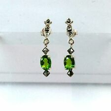 925 Sterling Silver Marcasite With Gemstone Peridot Hook Earrings
