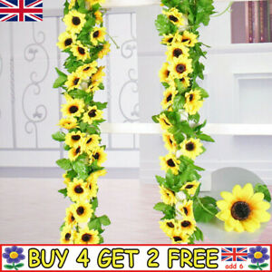 8.5ft Fake Artificial Sunflower Flowers Garland Ivy Silk Leaf Plants Garden Home