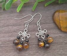 Natural TIGERS EYE Gemstone On Chinese Lucky Knot Dangle Earrings ~ Feng Shui