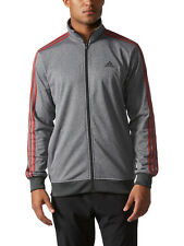 New Adidas Mens Gym Essential Key Tricot Track Suit Jacket Heathered Grey SZ XL