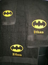Batman Personalized 3 Piece Bath Towel Set Super Hero Batman Logo ANYColor