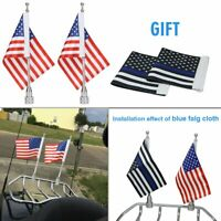 "6""x9"" Motorcycle USA Flags + Flag Pole Mounts (Gift: 2x Thin Blue Line USA Flag)"