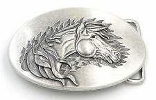 Western Horse Oval Silver Plated Belt Buckle