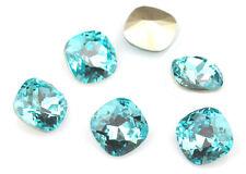 4 Light Turquoise Swarovski Crystal Square Cushion Cut Stone Folied 4470 12MM
