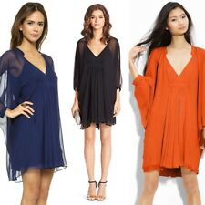 $368 DVF Fleurette Deep Dolman Sleeve Silk Chiffon Dress, BLUE Sz 0