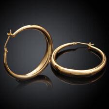 Earrings Women Wedding Engagement Gift Jewelry Fashion 18k Yellow Gold Drop Hoop