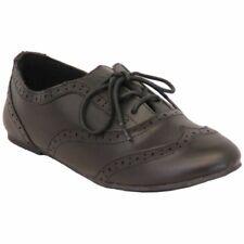 Zapatos Niña Escuela Mate Oxford Boda Niños Piel Sintética Plano Cordones Nuevos