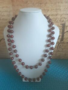 Vintage Long Ruby Garnet Red Glass Bead Necklace