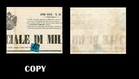 Parma 1853,9c Black & Blue,Newspaper Tax piece of Gazzetta Ufficiale Milano,Copy