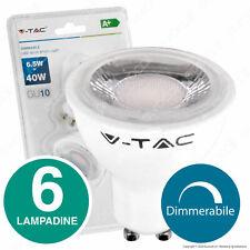 6 LAMPADINE LED V-TAC GU10 dimmerabili 6.5W 38° Luce Bianca 4000K 6400K Dimmer
