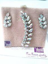 Vintage B. David AB Rhinestone Brooch Pin & Clip On Earrings in Original Box