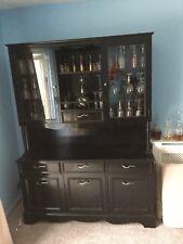 Large Vintage Wood Display Cabinet Painted Black