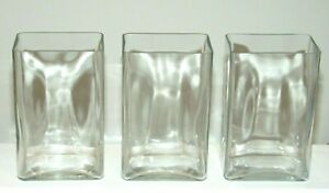 SET OF 3 LARGE CONTEMPORARY CLEAR GLASS RECTANGULAR BLOCK VASES  5.5x8.75x4""